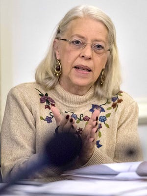Sen. Peg Flory, R-Rutland, asks a question duing a meeting of the Joint Legislative Justice Oversight Committee at the statehouse in Montpelier on Thursday, October 29, 2015.