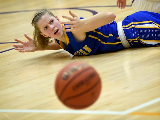Northern Lebanon's Cassiah Ray reacts to a call during the fourth quarter of play at Lancaster Catholic Friday evening. The Vikings defeated Catholic 49-35.