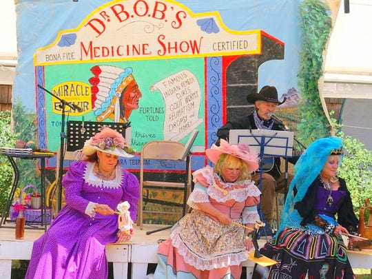 Some colorful ladies drew the curious to the medicine show at Fort Stanton LIVE!