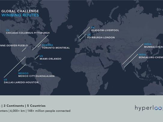 Hyperloop One is looking at metropolitan areas around