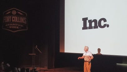 Inc. magazine editor Eric Schurenberg speaks to Fort Collins Startup Week attendees at The Lincoln Center Tuesday.