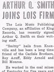 A newspaper brief noting Arthur Q. Smith (James Pritchett)