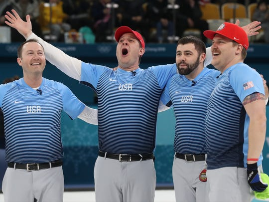 epa06560161 (L-R) Tyler George, skip John Shuster, John Landsteiner and Matt Hamilton of the US celebrate after winning the men's Curling final between Sweden and USA at the Gangneung Centre, in Gangneung, during the PyeongChang Winter Olympic Games 2018, South Korea, 24 February 2018.  EPA-EFE/JAVIER ETXEZARRETA