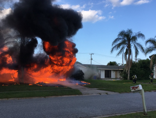 A house on Beechfern Lane in Rockledge on fire Saturday.