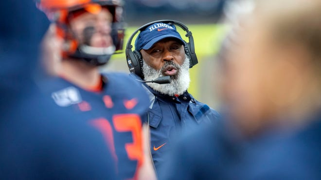 Nov 30, 2019; Champaign, IL, USA; Illinois Fighting Illini head coach Lovie Smith is seen during the second half against the Northwestern Wildcats at Memorial Stadium. Mandatory Credit: Patrick Gorski-USA TODAY Sports