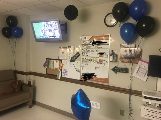Members of the Wichita Falls Citizens Police Academy Association decorated Officer Jeff Hughes' hospital room at United Regional Health Care System.