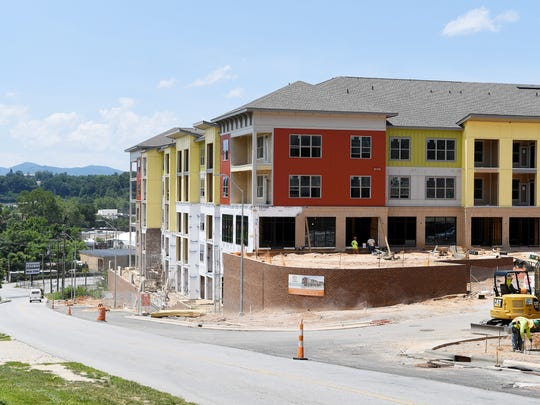An apartment complex under construction on Fairview Road near Biltmore Village July 10, 2017.