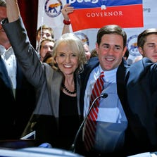Gov. Jan Brewer and Doug Ducey celebrate Ducey's nomination in the Republican primary for governor.