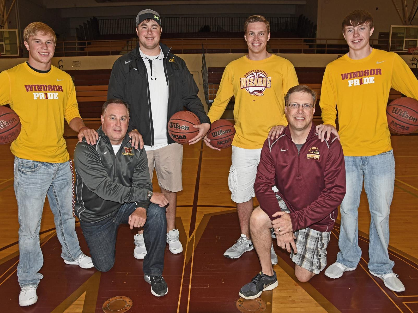 The Schmidts and Baldwins have provided Windsor with a long line of athletes. From left to right are Landon Schmidt, a senior to be; Mark Schmidt, 1985 Windsor graduate; Aaron Schmidt, 2012 graduate; Alex Baldwin, 2013 graduate; Troy Baldwin, 1985 graduate; and Noah Baldwin, an upcoming senior.