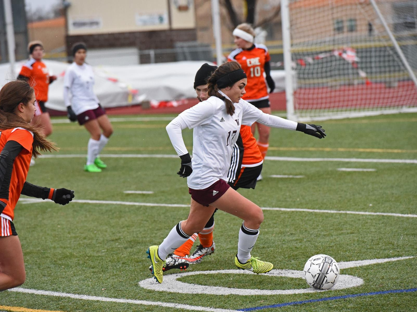 Windsor sophomore Alysa Lobato sets up a pass aganst Erie last week. Windsor is ranked No. 5 in Class 4A.