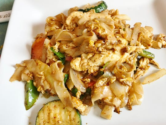 Krazy Fish's drunken noodles were flat, wide rice noodles stir fried with zucchini, green peppers, onions, chicken and hot chili sauce.