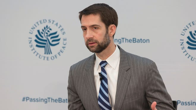 Sen. Tom Cotton, R-Ark., in Washington on Jan. 10, 2017.