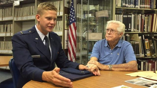 From left, U.S. Air Force 2nd Lt. Joshua McGee and his grandpa, Chuck McGee, at the Palm Springs Air Museum on Aug. 28, 2015.