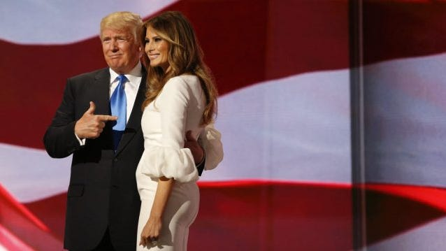 Donald Trump (L) escorts his wife Melania (R) after her speech on the first day of the 2016 Republican National Convention at Quicken Loans Arena in Cleveland, Ohio, USA, 18 July 2016.