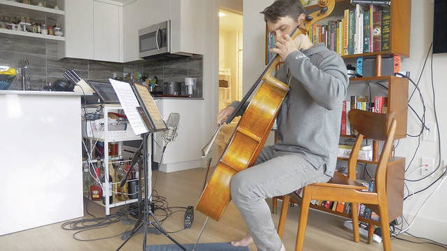 Cellist Andrew Janss performs a virtual concert for Project: Music Heals Us. Andrew Janss/Courtesy