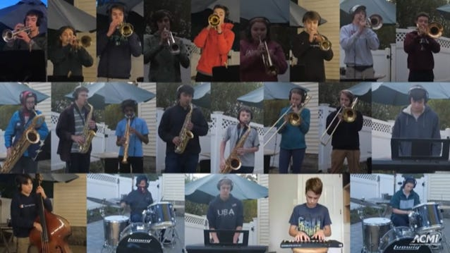 Members of the AHS Jazz Band played their parts in the song individually, and then each part was digitally placed together to give off the impression they were all playing at the same time.