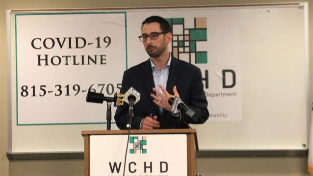 Mayor Tom McNamara discusses controversial comments made by Rockford airport director Mike Dunn, during a news conference Thursday, June 6, 2020, at the Winnebago County Health Department in downtown Rockford.