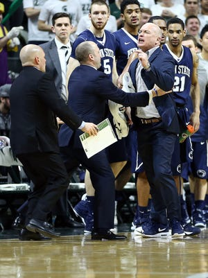 Penn State head coach Pat Chambers is ejected from the game during the first half Sunday afternoon while arguing a foul called against his leading scorer Brandon Taylor.