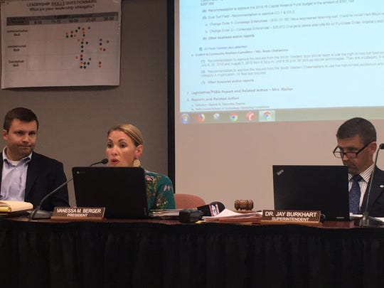 (L to R): Solicitor Gareth Pahowka, board President Vanessa Berger and Superintendent Dr. Jay Burkhart discuss armed security guards at the South Western School Board meeting Wednesday, June 27, 2018.
