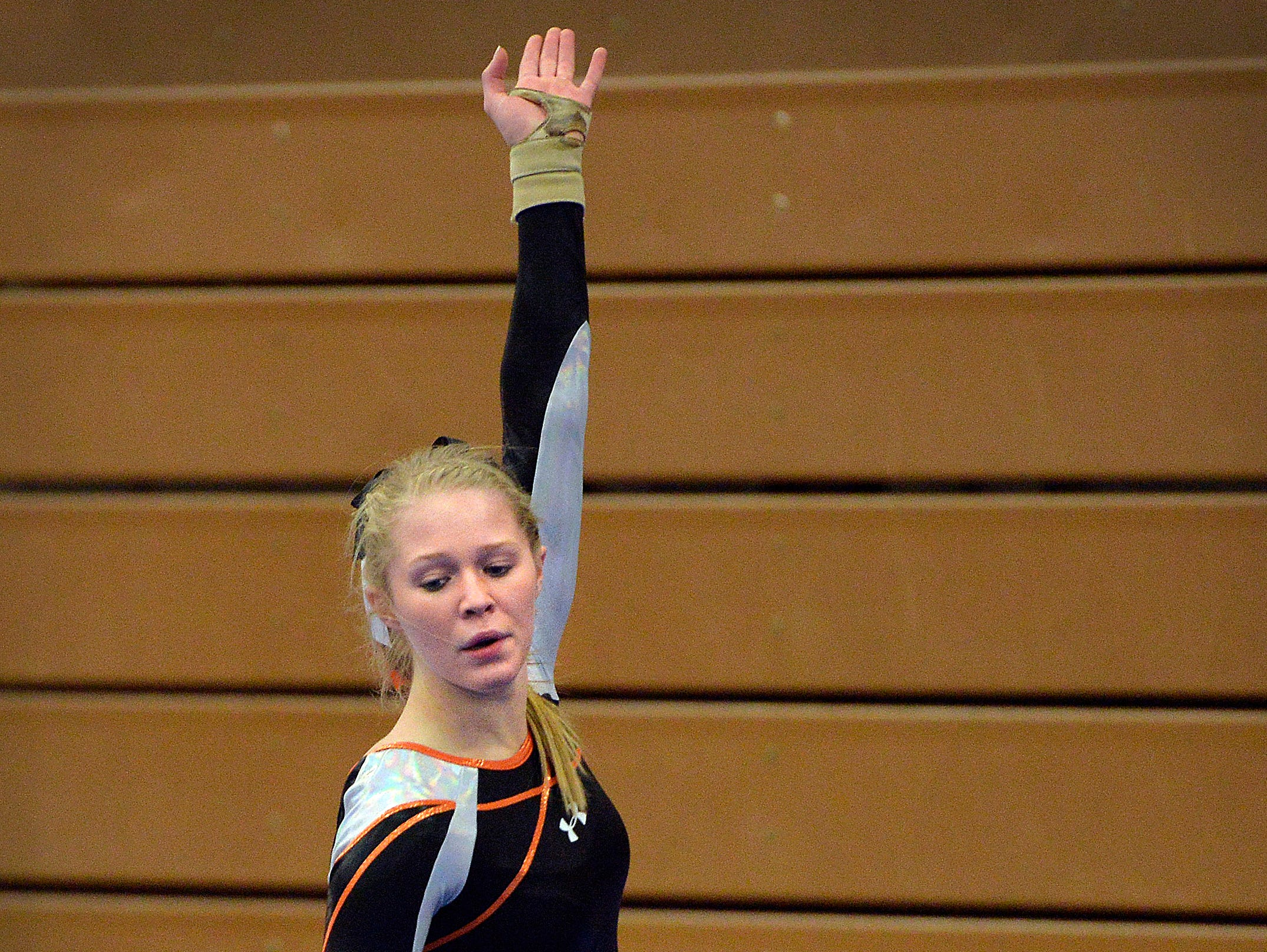 St. Cloud Tech gymnast Kalley Thompson begins her floor exercise routine Saturday, Dec. 5 during the St. Cloud Apollo Gymnastics Invite.