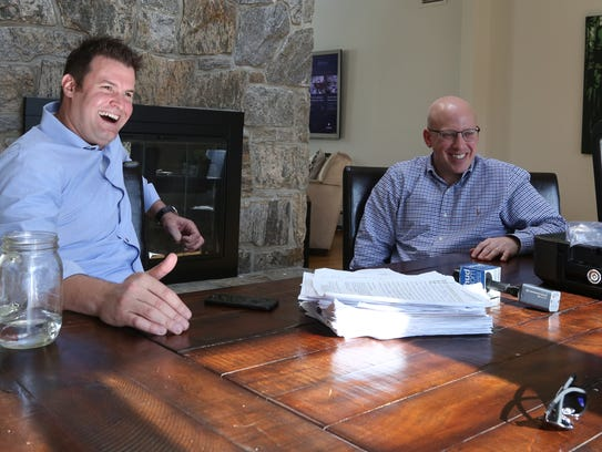 Jeff Sherwin, left, at his Edgemont home, with fellow