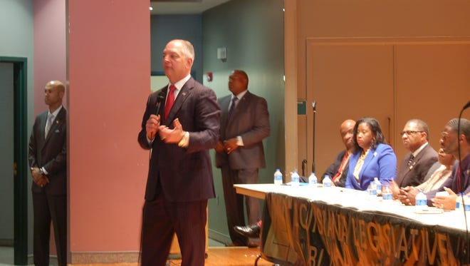 Gov. John Bel Edwards spoke at a town hall meeting that the Louisiana Legislative Black Caucus held in Lafayette Tuesday.