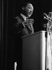 Martin Luther King Jr. addresses a crowd of about 800