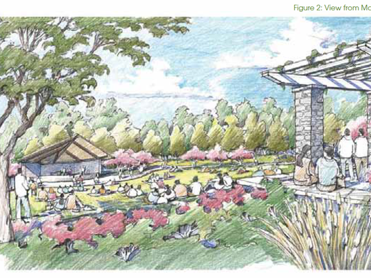 Green Bay Botanical Garden's new Grand Garden will be located in a natural bowl area behind the Fischer Visitor Center and Schneider Education Center and flanked by the garden's magnolia collection.