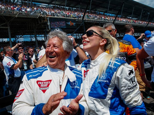 Mario Andretti and Lady Gaga before the start of the Indy 500 in May of 2016.