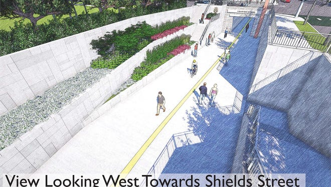Rendering of a conceptual plan for an underpass proposed for the intersection of Shields and Elizabeth streets.