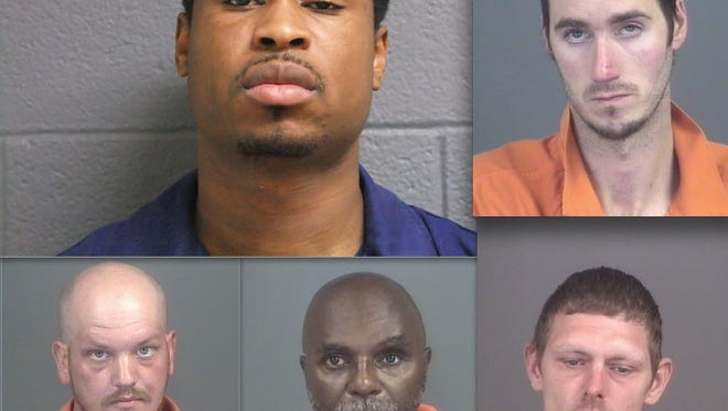 Top row, from left: Ronald Kinchen and Jonathan Plummer. Bottom row: Cameron Austin, Keith Winters and Michael Becker.