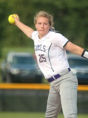 Campbell pitcher Ashley Leicht throws to Harrison County.