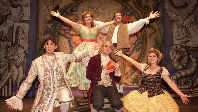 """Front: Michael Moreno as """"Maximillian"""", Evan Jones as """"Dr. Pangloss"""", and Angela Dilkey as """"Paquette"""". Back: Amy Barton as """"Cunegonde"""" and Adam Lloyd as """"Candide"""" in FSU Opera's production of """"Candide."""""""