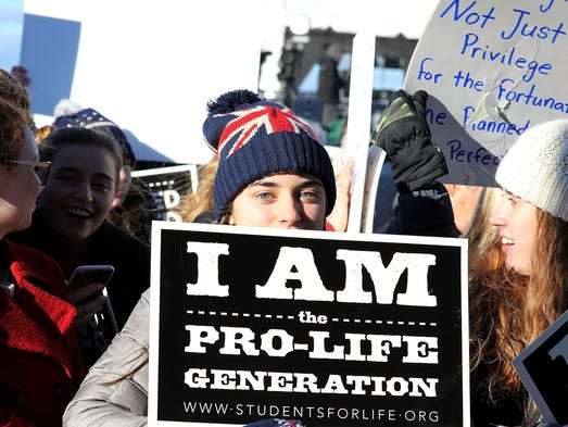 Pro Life supporters gather at the Washington Monument