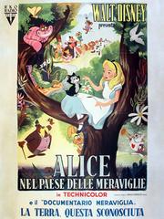 "An Italian language poster promotes Disney's 1951 movie ""Alice in Wonderland."""