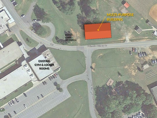 An aerial view showing where the Palmetto High multipurpose building will be located.