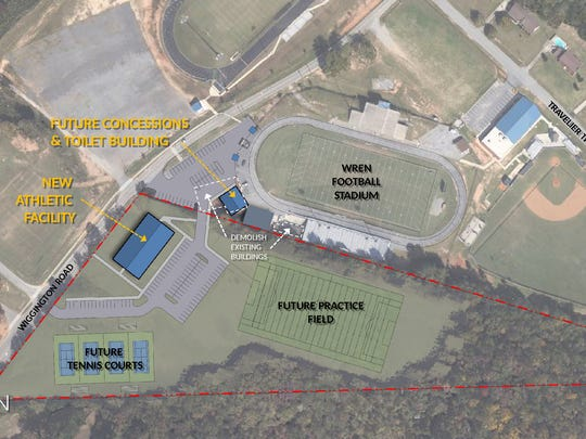 Aerial view showing where the Wren High field house and weight room will be located.