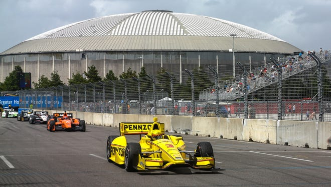Helio Castroneves navigates Turn 8 during the second IndyCar Grand Prix of Houston on June 29.