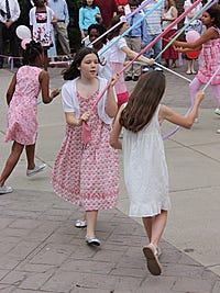 Maypole dance. Submitted by Constance Moore of Pittsford on June 1, 2010.  Maypole Dance — Girls perform the traditional Maypole Dance at the annual Strawberry Breakfast at Allendale Columbia School.