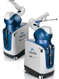 The Mako robotic arm that allows local surgeons to perform total knee replacements with more accuracy.