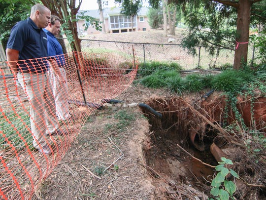 Adam Cromer (left), Anderson stormwater department manager and Billy Bolger, Stormwater Department engineer, look at a sinkhole between Bellview Road and Poplar Lane.