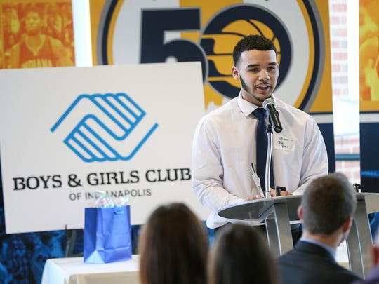 Jose Bravo, the 2016-2017 High School Youth of the Year, spoke during the Boys & Girls Club of Indianapolis Youth of the Year Awards at Bankers Life Fieldhouse last winter. He shadowed Mayor Joe Hogsett last week as part of Boys & Girls Club's Take a Boy/Girl to Work Day. Bravo is a senior at Manual High School.