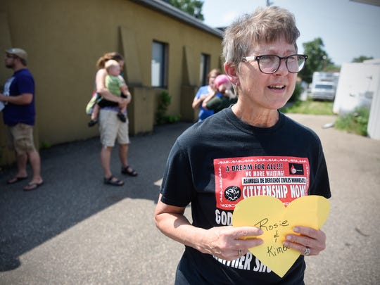 Patty Keeling talks about her reasons for being a part of the Central Minnesota Cares Campaign following a meeting of the group Friday, June 29, in St. Cloud.