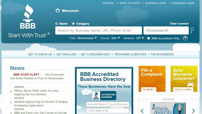 The Better Business Bureau's Wisconsin web site.