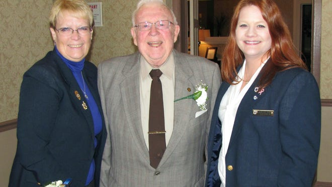 """Charles Willer, a past president of the New Jersey State First Aid Council, helped install Sue Meyer of New Providence, left, as membership secretary and Barbara Platt of New Egypt as council secretary.  The 87-year-old nonprofit New Jersey State First Aid Council, now """"doing business as"""" the EMSCNJ, represents 20,000 EMS volunteers affiliated with nearly 300 rescue squads throughout the state."""