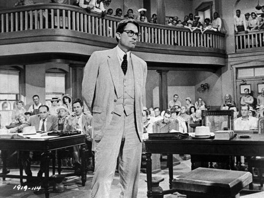 "Gregory Peck is Atticus Finch in the 1962 big-screen adaptation of ""To Kill a Mockingbird."""