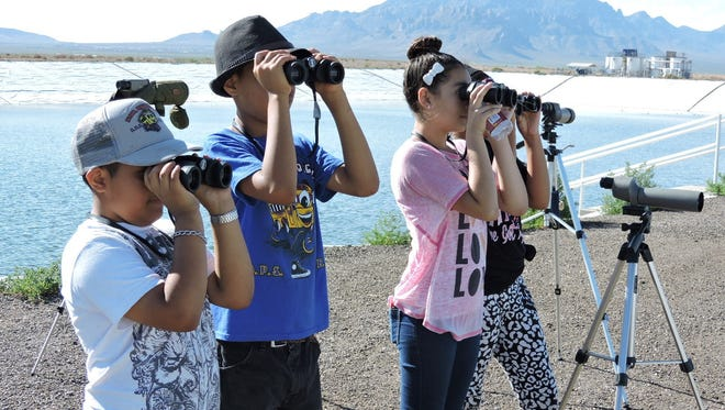 Young bird watchers took in the flocks at the city's waster water treatment plant on a July field trip sponsored by the Audubon Society.    Patricia & Angel - Patricia Taber helps Angel Zeferino identify a bird at the Deming water treatment plant.