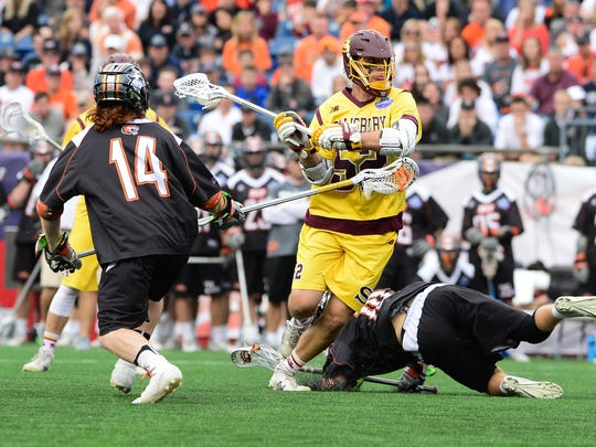 Salisbury University's Adam Huber takes a shot on goal against RIT on Sunday, May 28, 2017 during the NCAA Division III National Championships at Gillette Stadium in Foxborough, Mass.