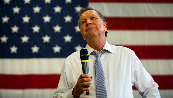 John Kasich speaks at a town hall at Thomas Farms Community Center in Rockville, Md., on April 25, 2016.