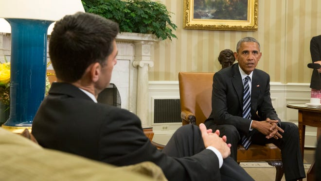 President Obama meets with House Majority Leader Republican Paul Ryan and other members of the congressional leadership to discuss a congressional agenda and his recent trip to Asia, in the Oval Office Sept. 12.
